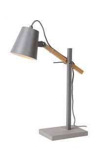 FREYA Desk Lamp E14 W36 H42cm Wood/Grey